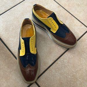 PRADA yellow, brown, blue, platform sneakers